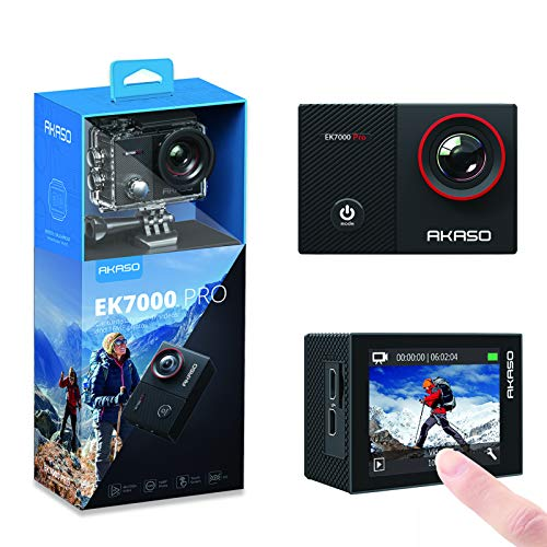 AKASO EK7000 Pro 4K Action Camera with Touch Screen EIS Adjustable View Angle Web Camera 40m Waterproof Camera Remote Control Sports Camera with Helmet Accessories Kit
