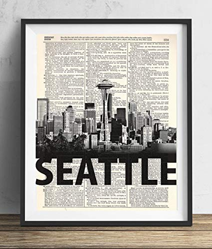 Seattle Skyline With Bold Name Dictionary Art Print 8x10