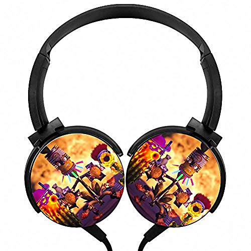 Headphones Lightweight with Mic Over Ear 3.5Mm Running Plants-Vs-Zombie Stereo Headsets for Womens