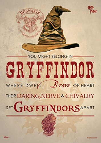 MightyPrint Harry Potter (Sorting Hat Gryffindor) Wall Art Decor - Next Generation Premium Print - Featuring Hogwarts House Quote Poem