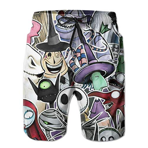 Men's Casual Hawaiian Swim Trunks - Nightmare Before Christmas Characters Movie Poster Printed Beach Board Shorts Surf Quick Dry Breathable with Pocket Mesh Lining M