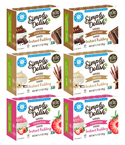 Simply Delish Natural Instant Pudding Variety Pack - 2 Chocolate Pudding, 2 Vanilla Pudding, 2 Strawberry Pudding - 1.7 OZ (6 CT)