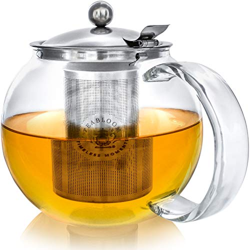 TEABLOOM Stovetop Safe + Lead-Free Glass Teapot Kettle – 40 oz / 1.2 L Capacity – Removable Stainless Steel Infuser – Great For Loose Leaf Tea, Blooming Tea, Tea Bags & Fruit Infused Water