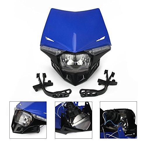 Headlight Universal Motorcycle Supermoto LED Light Dirt Bike Headlight Front Head Light For 12V 35W YZ YZF TTR WR 125 250 300 350 450 Blue