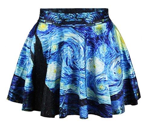 King Ma Sexy Retro Vintage Digital Print Skater Skirt (Starry Night)