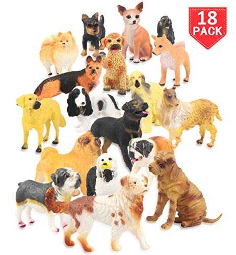 Liberty Imports Set of 18 Large Deluxe Dog Figurines, Toy Puppy Figures Canine Bulk Animal Variety Gift Pack (4-Inches)