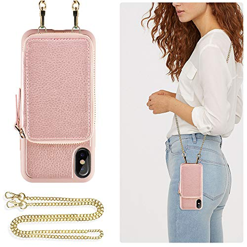 ZVE Wallet Case for Apple iPhone Xs and X 5.8 inch, Leather Wallet Case with Crossbody Chain Credit Card Holder Slot Zipper Shoulder Handbag Pocket Purse Case for Apple iPhone X and XS - Rose Gold