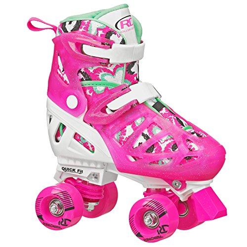 Roller Derby Trac Star Girl's Adjustable Roller Skate, White/Pink, Large (3-6)