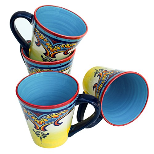 Euro Ceramica Zanzibar Collection Vibrant Coffee/Tea Mug Set, 4 Piece, Spanish Floral Design, Multicolor