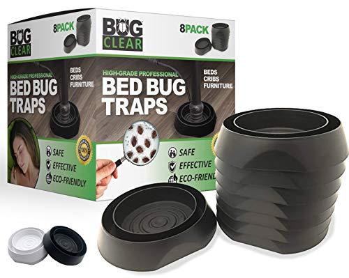Bed Bug Traps Detectors Interceptor Trap 8 Pack (Black) - High Grade Professional | No Talcum or Chemicals | Beds Cribs Furniture