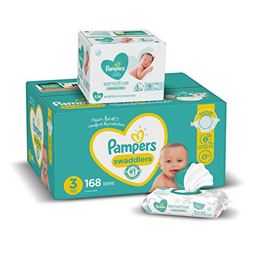 Diapers Size 3, 168 Count and Baby Wipes - Pampers Swaddlers Disposable Baby Diapers and Water Baby Wipes Sensitive Pop-Top Packs, 336 Count (Packaging May Vary)