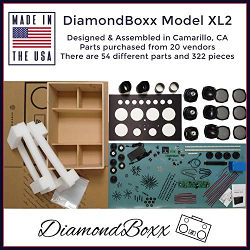 DiamondBoxx Model XL2 Blue 462 - The Biggest Bass in Wireless Audio Portable Bluetooth Speaker Loud Clear with 1000 Watts Output, 20 Hours per Charge, 12 amplifiers for 0 Distortion and 4 subwoofers