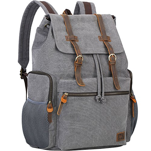 WOWBOX Canvas Backpack Vintage Leather 17.3 Inch Laptop School Backpack Travel Rucksack Grey