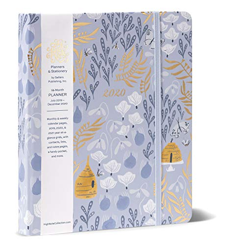 High Note 2020 Planner - Hardcover Day Planner 18-Month - Daily Weekly Monthly Planner Yearly Agenda Organizer: July 2019 - December 2020 Garden Honeybee Floral in Gold 7' x 8.5'