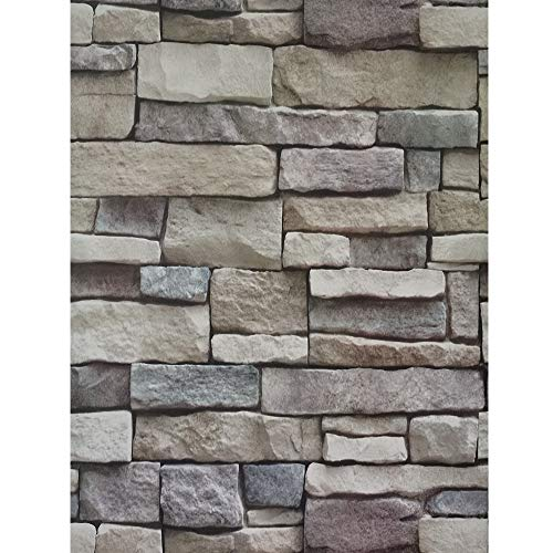 ODS Stone Peel and Stick Wallpaper 17.71'x 236.22' Self-Adhesive Brick Wall Paper Kitchen Backsplash Waterproof Home Decoration Removable Wall Covering Wallpaper for Cabinets Countertops