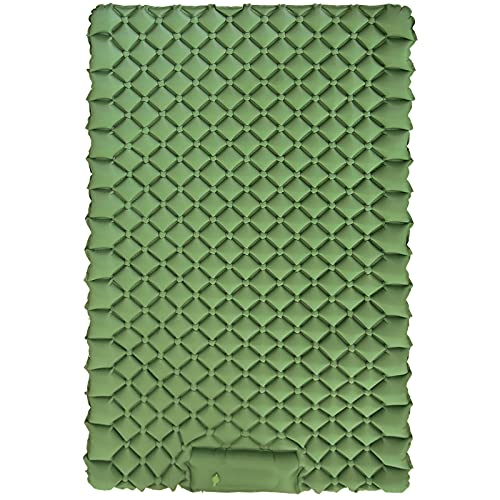 Double Sleeping Pad for Camping, Filoto Self Inflating Camping Mattress with Foot Pump Sleeping Mat 2 Person, Ultralight Compact and Portable Pad for Backpacking, Hiking, Road Trip, Tent(Army Green)
