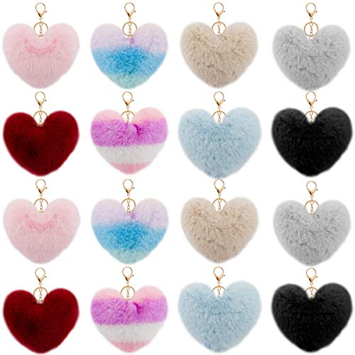 16pcs Heart Shaped Pompom Ball Keychains- Decorative Keychain with Artificial Rabbit Fur Fluffy Pom Pom Ball in 8 Colors Golden Keychain with Fluffy Accessories for Girls Ladies Women Bag Car Decors