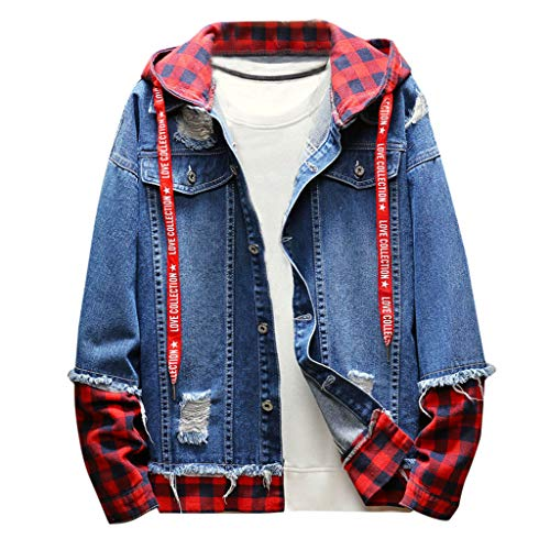 Plaid Vintage Wash Distressed Denim Jacket Men Autumn Winter Coat