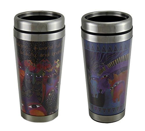 Laurel Burch Fantasticats & Wild Horses of Fire 16 Oz. Travel Mug Set of 2
