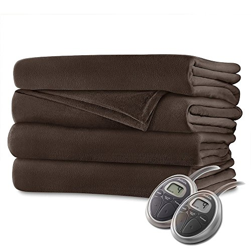 Sunbeam Velvet Plush Queen Heated Blanket with 20 Heat Settings, Auto-Off and 2-Digital Controllers - 5 Yr Warranty, Walnut Brown