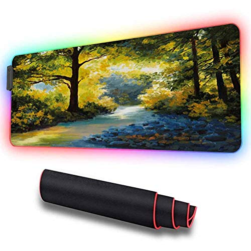 RGB Soft Gaming Mouse Pad Large, Mother Nature Theme Oil Painting S, 31.5 X 11.8 Inch High-Performance Mouse Pad Optimized for Gaming Sensors