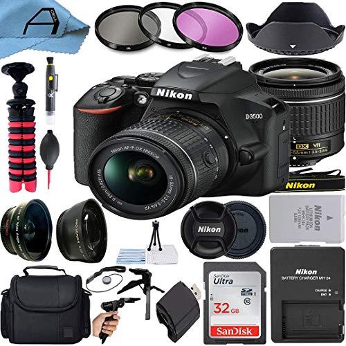 Nikon D3500 DSLR Camera 24.2MP Sensor with NIKKOR 18-55mm f/3.5-5.6G VR Lens, SanDisk 32GB Memory Card, Bag, Tripod, 3 Pack Filters and A-Cell Accessory Bundle (Black)