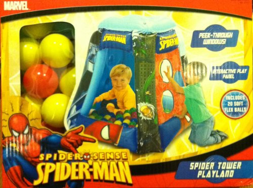 Marval Spiderman Inflatable Ball Pit Tower Playland (Includes 20 soft flex balls)