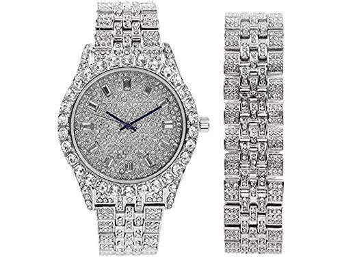 Mens Watch w/Matching Iced Rolly Hip Hop Bracelet - Big Rhinestones on Trim and Elegant Baguette Time Indicators on Dial - Master Bling Designer - ST10226B (Silver)
