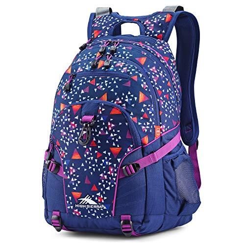 High Sierra Loop Backpack, School, Travel, or Work Bookbag with tablet sleeve, Triangle Party/Tru Navy/Hyacin, One Size