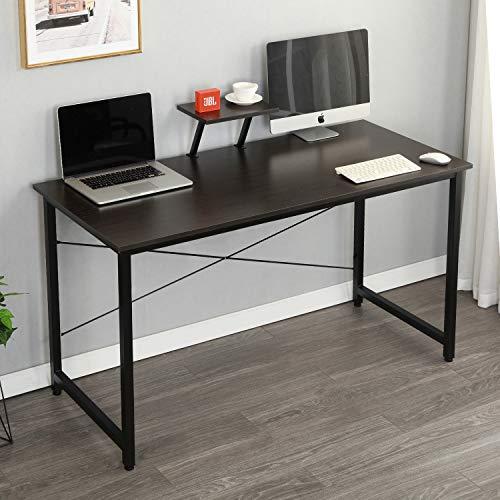 sogesfurniture Computer Desk with Shelf Sturdy Office Desk 55.1 Inches Meeting Desk Training Desk Writing Desk Workstation Desk Gaming Desk,Black BHUS-WK-JK140-BK