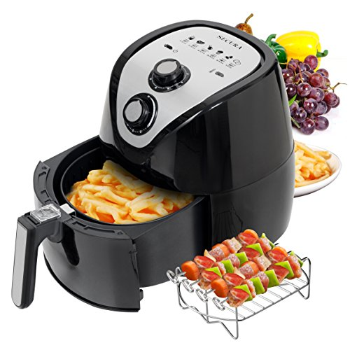 Secura Air Fryer 3.4Qt / 3.2L 1500-Watt Electric Hot XL Air Fryers Oven Oil Free Nonstick Cooker with Additional Accessories, Recipes, BBQ Rack & Skewers for Frying, Roasting, Grilling, Baking