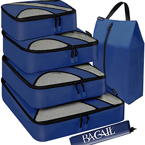 BAGAIL 4 Set Packing Cubes,Travel Luggage Packing Organizers with Laundry Bag(Navy)