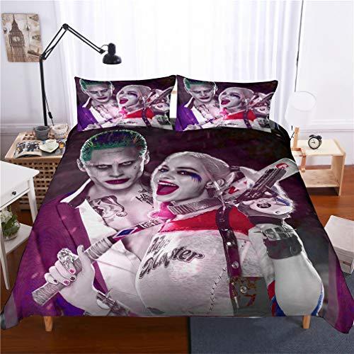 ROMOO 3D Suicide Squad Joker with Harley Quinn Pattern Duvet Cover Set Microfiber 3 Piece Bedding Set (1 Duvet Cover 2 Pillowcases), King