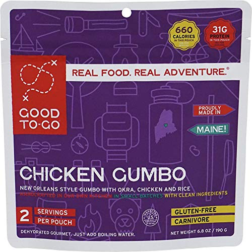 GOOD TO-GO Chicken Gumbo - Double Serving   Dehydrated Backpacking and Camping Food   Lightweight   Easy to Prepare
