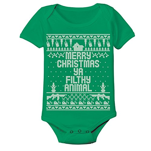 Ya Filthy Animal Merry Christmas Ugly Christmas Sweater Contest Home Baby One Piece 18 Months Green