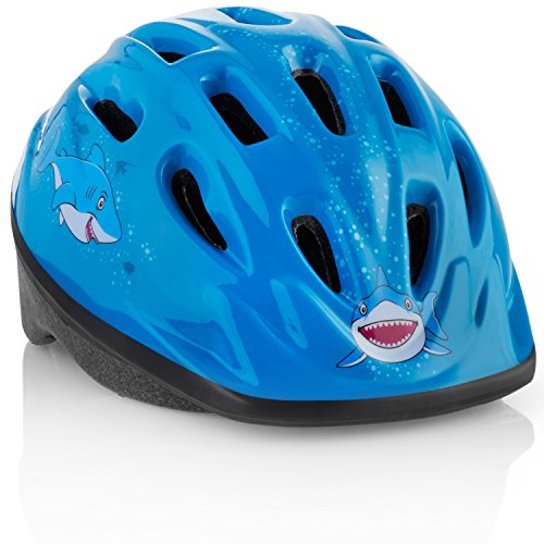 Kids Bike Helmet [ Blue Shark ] – Adjustable from Toddler to Youth Size, Ages 3-8 - Durable Kid Bicycle Helmets with Fun Designs Boys Will Love - CPSC Certified - FunWave