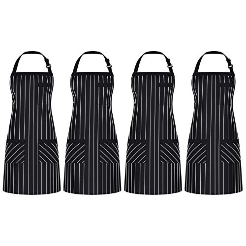 Syntus 4 Pack Adjustable Bib Apron with 3 Pockets Cooking Kitchen Aprons for Women Men Chef, Black/White Pinstripe