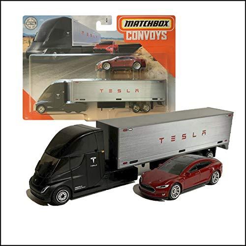 Matchbox Convoys Series Tesla Semi & Box Trailer with red Tesla Model S