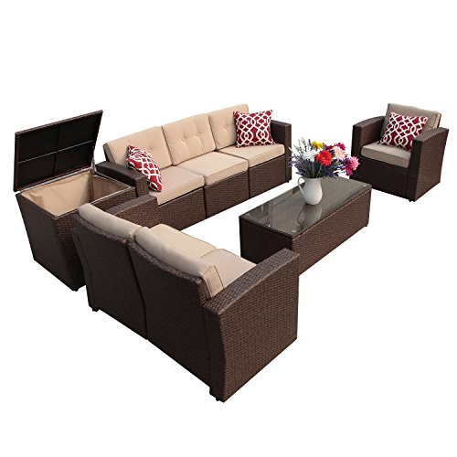 Super Patio Patio Furniture, 8 Piece Outdoor Furniture Set Wicker Sectional Furniture with Storage Table, Beige Cushions, Three Red Pillows, Brown Wicker