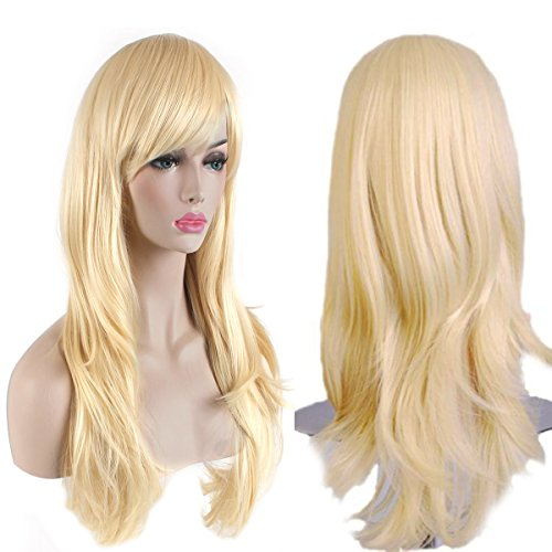 AKStore Fashion Wigs 28' 70cm Long Wavy Curly Hair Heat Resistant Wig Cosplay Wig For Women With Free Wig Cap (Golden)