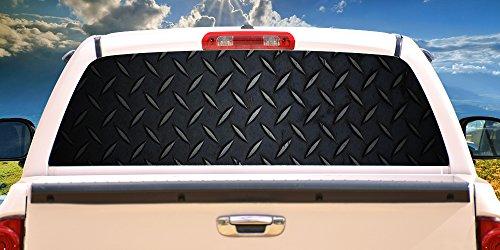 SignMission Black Diamond Plate Rear Window Graphic Full Size Pickup Truck, 16' X 54'