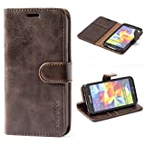 Mulbess Galaxy S5 Protective Cover, Magnetic Closure RFID Blocking Luxury Flip Folio Leather Wallet Phone Case with Card Slots and Kickstand for Samsung Galaxy S5, Coffee Brown