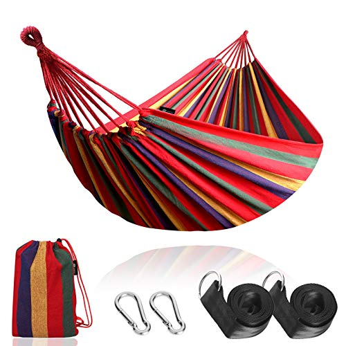 Anyoo Garden Cotton Hammock Comfortable Fabric Hammock with Tree Straps for Hanging Durable Hammock Up to 450lbs Portable Hammock with Travel Bag,Perfect for Camping Outdoor/Indoor Patio Backyard
