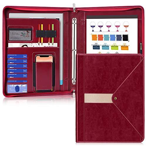 Zippered Padfolio with 3 Ring Binder (1'' Round Ring), Toplive Business Portfolio Folder Binder Document Organizer for Women and Men,Wine Red