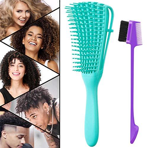 Detangling Brush, Detangler Hair Brushes for Natural Black Hair (Green)