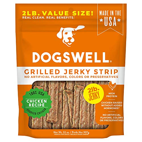 DOGSWELL Grilled Jerky Strips, Made in USA Dog Treats Large and Small Breed Bulk Bag, 2lbs Chicken (29277)