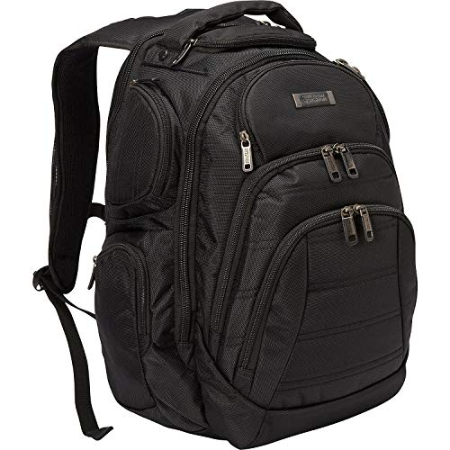 """Kenneth Cole Reaction Pack-of-All-Trades' Multi-Pocket 17.0"""" Laptop & Tablet Business Travel Backpack, Black, One Size"""
