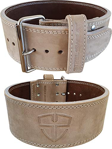 Steel Sweat Weight Lifting Belt - 4 Inches Wide by 10mm - Single Prong Powerlifting Belt That's Heavy Duty - Vegetable Tanned Leather - Oat XL