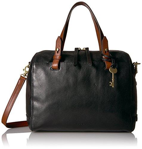 Fossil Women's Rachel Leather Satchel Handbag, Black