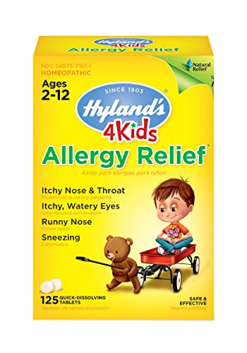 Childrens Allergy Medicine by Hyland's 4 Kids Allergy Relief Tablets, Safe and Natural for Indoor & Outdoor Allergy Relief Pills for Children, 125 Count